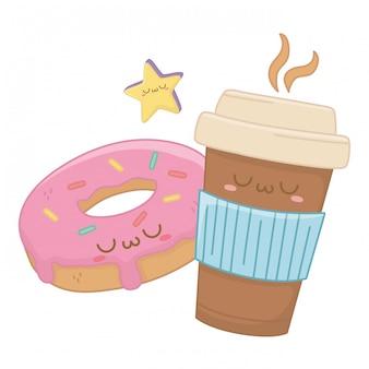 Kawaii de desenhos animados de caneca de café