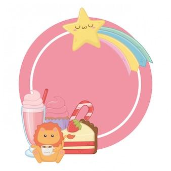Kawaii de desenhos animados de leão e sobremesas