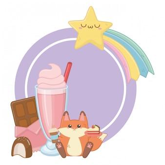 Kawaii de desenhos animados de raposa e sobremesas