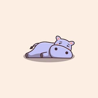 Kawaii desenhado à mão hipopótamo fofo