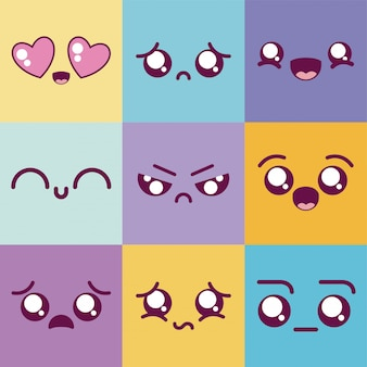 Kawaii desenhos animados emoticons coloridos conjunto vector design