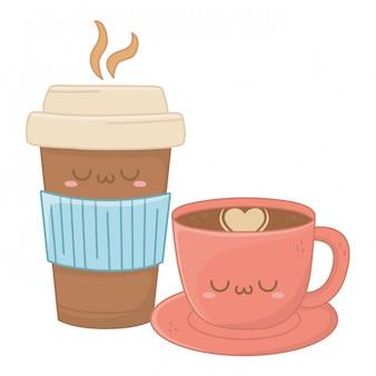 Kawaii do desenho animado de xícara de café