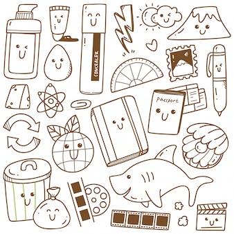 Kawaii doodle arte de linha de coleção, apropriada para colorir