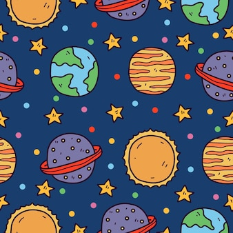Kawaii doodle cartoon planeta pattern design