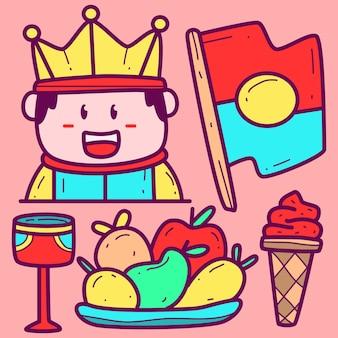 Kawaii doodle cartoon rei desenhado à mão