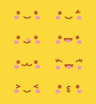 Kawaii enfrenta sobre fundo amarelo. ilustração