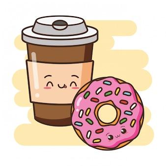 Kawaii fast-food donut bonito e ilustração de café