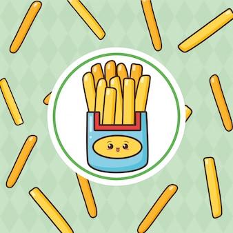 Kawaii fast-food frieas bonito com ilustração de batatas fritas