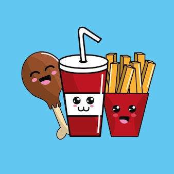 Kawaii fast food ícone adorável expressão
