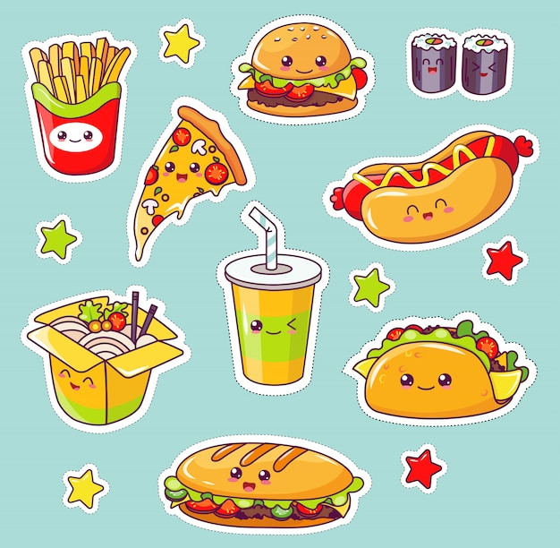 Kawaii fast food, junk comer saborosa refeição plana.