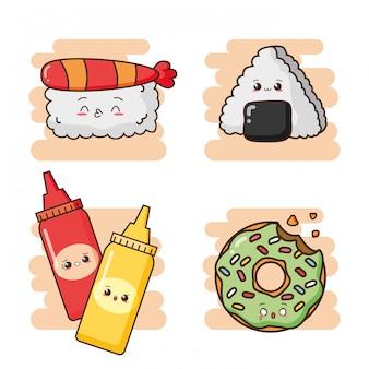 Kawaii fast food sushis bonitos, molhos e uma ilustração de rosquinha verde bonito