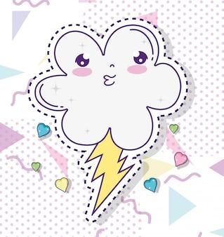 Kawaii fofa nuvem com trovão e corações