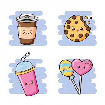 Kawaii fofo fast-food bebidas, biscoitos e pirulitos ilustração