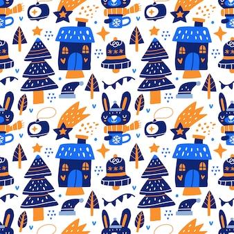 Kawaii fofo natal sem costura padrão em estilo escandinavo. pode ser usado para tecido, etc.