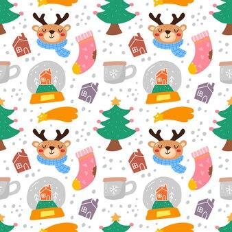 Kawaii fofo natal sem costura padrão em estilo escandinavo.