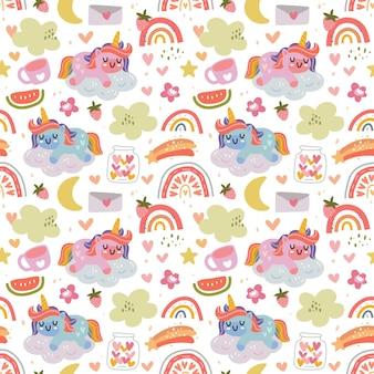Kawaii fofo unicórnio e padrão sem emenda do arco-íris em estilo escandinavo.