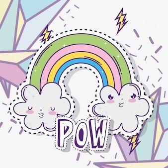 Kawaii fofos nuvens com arco-íris e figuras geométricas