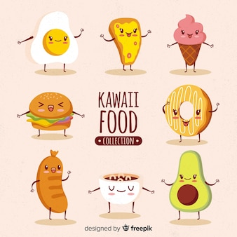 Kawaii food hand drawn collection