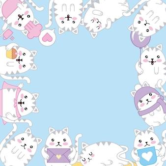 Kawaii gatinho adorável animais dos desenhos animados fronteira decoração