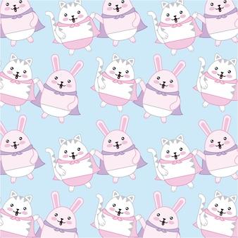 Kawaii gato e coelho com fundo de personagens de capa