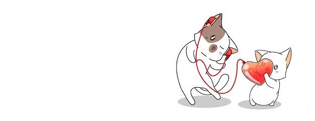 Kawaii gato está escutando coração sonora