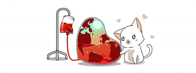 Kawaii gato está salvando a ilustração da terra