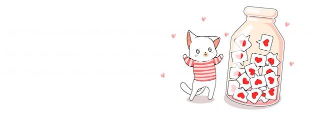 Kawaii gato recolhe o ícone de um coração
