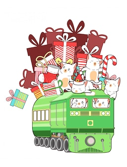 Kawaii gatos com presentes no trem no dia de natal