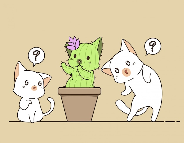 Kawaii gatos e cacto de gato