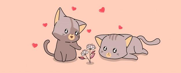 Kawaii gatos e mini flores