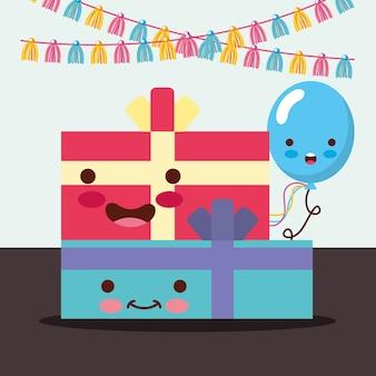 Kawaii gift boxes bow balão dos desenhos animados decoração
