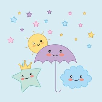 Kawaii guarda-chuva estrela nuvem sol cartoon ilustração vetorial