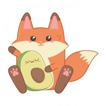 Kawaii isolado de desenhos animados de raposa