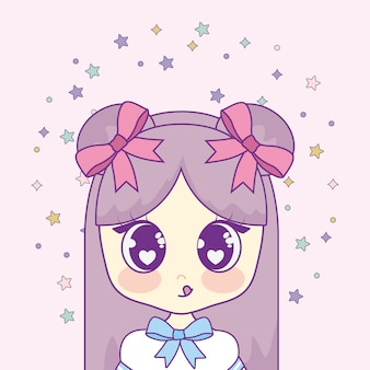 Kawaii menina com garlands respingo