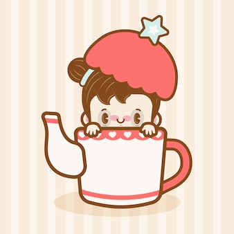 Kawaii menina em uma panela de chá