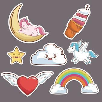 Kawaii nuvem coração asas unicórnio sorvete lua estrela