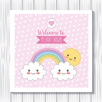Kawaii rainbow clouds sun bem-vindo cartaz do chá de fraldas