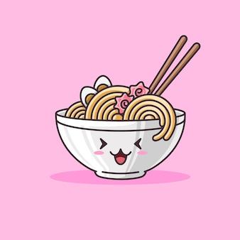Kawaii ramen macarrão tigela comida asiática