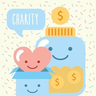 Kawaii recipiente vidro caixa coração amor moedas doar caridade
