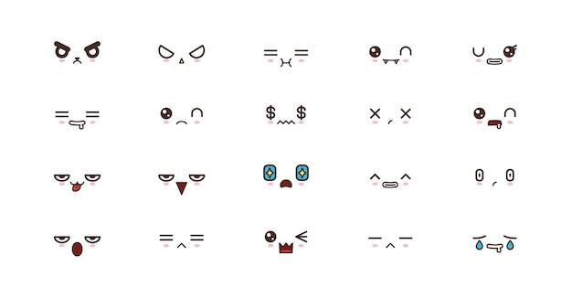 Kawaii rostos bonitos sorriem emoticons. emoji japonês
