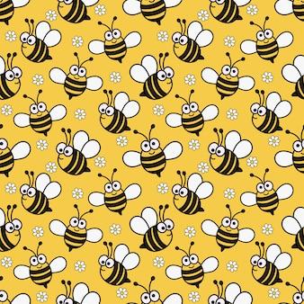 Kawaii seamless pattern bonito bebê abelha dos desenhos animados