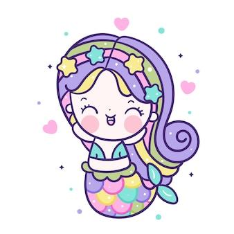 Kawaii sereia feliz emoção