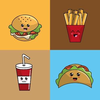Kawaii set fast food ícone adorável expressão