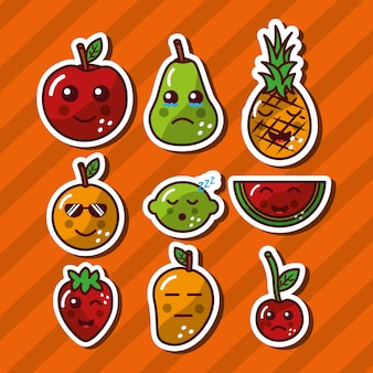 Kawaii sorrindo frutas comida adorável dos desenhos animados