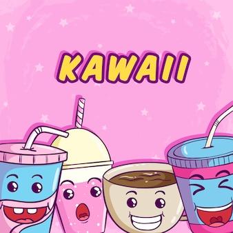 Kawaii sorvete, donut e fatia de bolo com rosto bonito