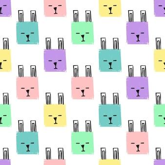 Kawaii squares rabbits seamless pattern. vetor mão desenhar plano de fundo com os rostos de coelhos. lápis de fundo infinito textura de quadrados em cores pastel. modelo para a embalagem, têxteis para bebês