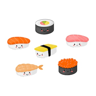 Kawaii sushi e sashimi comida japonesa isolado