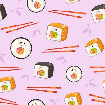 Kawaii sushi, pãezinhos, pauzinhos e folhas de bambu
