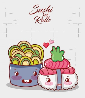 Kawaii sushi salmão wasabi e salada comida japonês cartoon, sushi e rolos