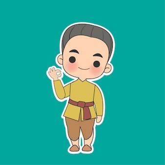 Kawaii thai boyl em personagem de desenho animado com vestido tradicional